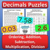 Decimals Review Worksheets (Puzzles)