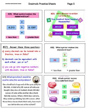 Decimals Worksheets (Set of 6)