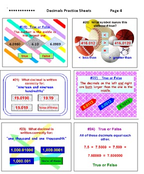 Decimals Worksheets (Set of 6)