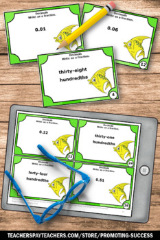 Decimals and Fractions Games to the HUNDREDTHS, 4th Grade Decimal Task Cards