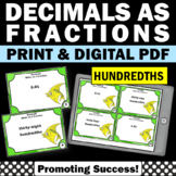 Decimals to Fractions 4th Grade Math Review, Decimals to Hundredths
