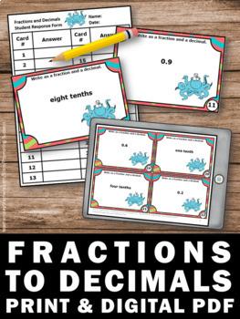 Decimals to Fractions Activities TENTHS 4th Grade Math Centers Decimal Games