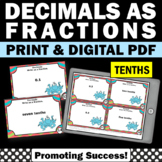 Decimals to Fractions 4th Grade Math Review, Decimals to the Tenths