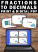 Decimals as Fractions to the TENTHS Task Cards 4th Grade M