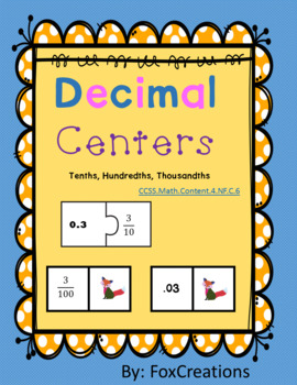 Decimals and Fraction Centers