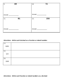 Decimals and Fraction Test