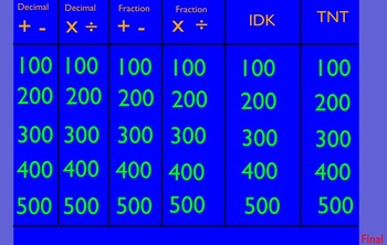 Decimals and Fractions Jeopardy Game