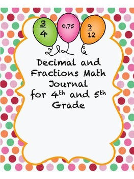 Decimals and Fractions Math Journal