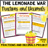 "Decimals and Fractions Math Project ""The Lemonade War"" PBL DISTANCE LEARNING"