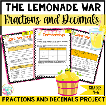 "Decimals and Fractions Math Project ""The Lemonade War"" PBL"