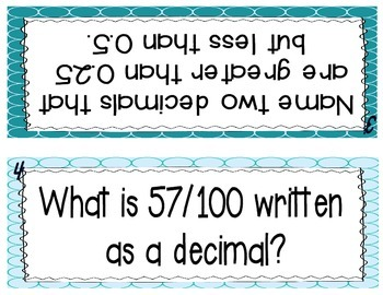Decimals and Fractions Partner Practice Activity Task Cards - Set of 30