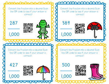 Decimals and Fractions QR Task Cards