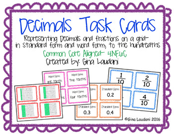 Decimals and Fractions Task Cards- 4.NF.C.6