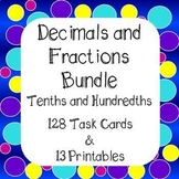 Decimals and Fractions Tenths and Hundredths Bundle Task Cards & Worksheets