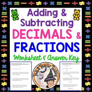 Decimals and Fractions Adding and Subtracting Add Subtract Decimal Fraction