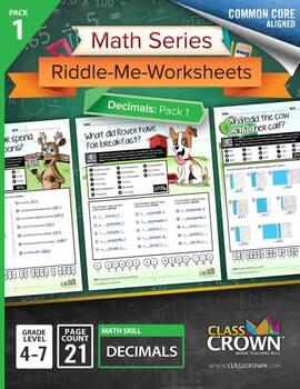 Decimals and Fractions Worksheets Bundle Pack – Math Worksheets – CCSS Aligned