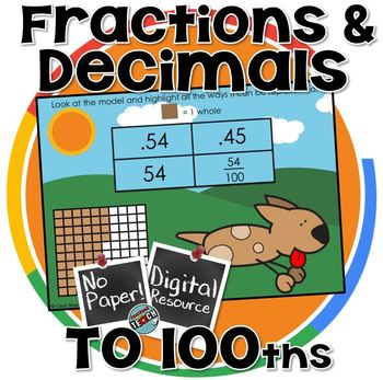 Decimals and Fractions to hundredths Digital Activity + Boom Cards