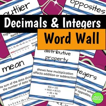 Decimals and Integers Word Wall