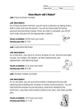 Decimals and Jobs