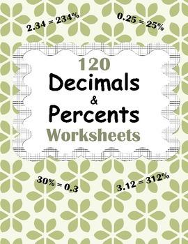Decimals and Percents Worksheets