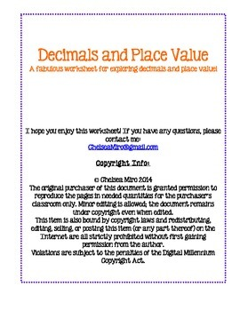 Decimals and Place Value Worksheet