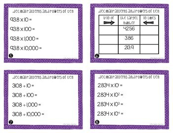 Decimals and Powers of Ten Task Cards for 5th Grade