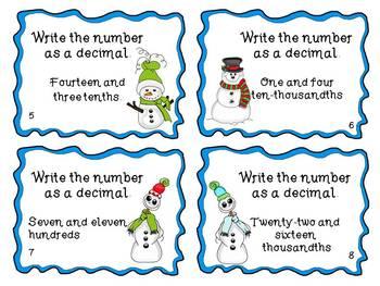 Decimals are Snow Fun Task Cards