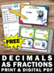 FREE Converting Decimals to Fractions Task Cards