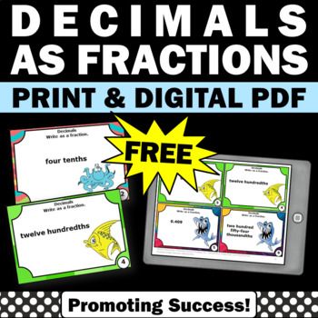 FREE Decimals as Fractions Task Cards for Math Center Game
