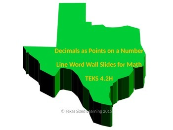 Decimals as Points on a Number Line, New Math TEKS 4.2H, Vocab & Word Wall Cards