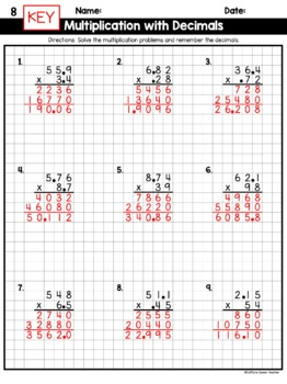 Multiplying Decimals with Multi-Digit Multiplication on Graph Paper