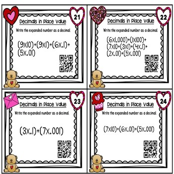 Valentine's Day Decimals Place Value with QR Codes