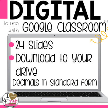 Decimals in Standard Form Digital Task Cards for Google Classroom