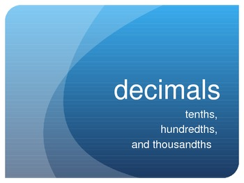 Decimals in Word Form Power Point