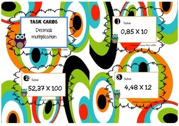 Decimals multiplication task cards