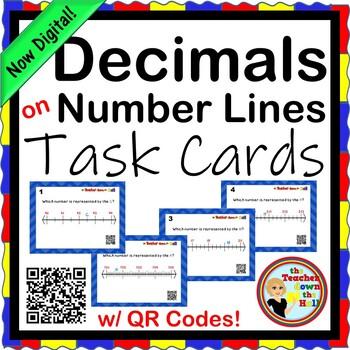 Decimals - Decimals on Number Lines - 24 Task Cards w/ QR Codes!