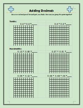 Adding Decimals on a Grid