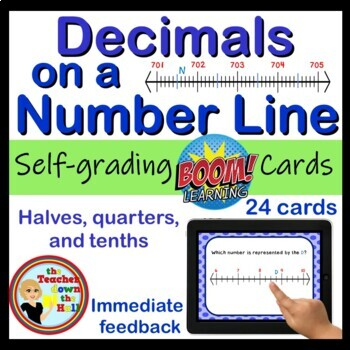 Decimals on a Number Line Digital Practice BOOM Cards- Decimals on Number Lines!
