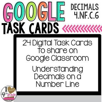 Decimals on a Number Line Digital Task Cards for Google Classroom