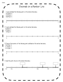 Decimals on a Number Line Interactive Notebook & Quick Check TEKS 4.2H
