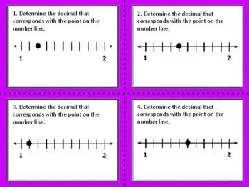 Decimals on a Number Line Task Cards (Set of 44 cards aligned to 4.2H)