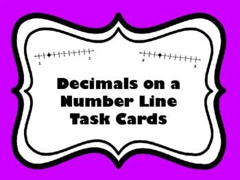Decimals on a Number Line Task Cards (Set of 44 cards alig