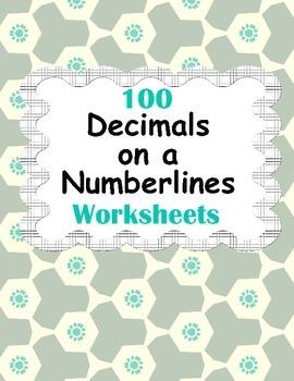 Decimals on a Numberlines Worksheets