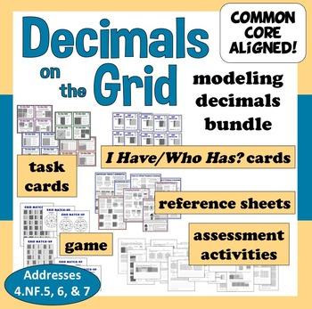 Decimals on the Grid decimal activity cards, games, and printables bundle