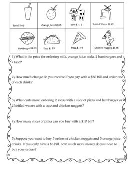Decimals on the Menu and Coloring in Fractions