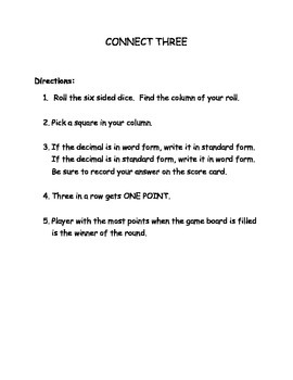 Decimals standard and word form tenths and hundredths game