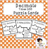Decimals times 100 puzzle cards