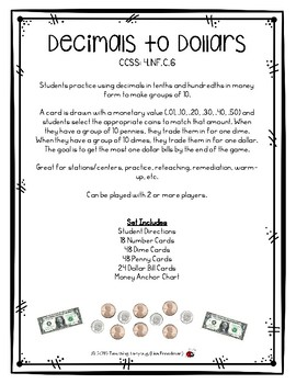 Decimals to Dollars - Using .01, .10 and 1.00 to Make Groups of 10 4.NF.C.6