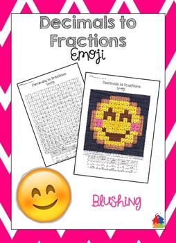 Decimals to Fractions Blushing Emoji