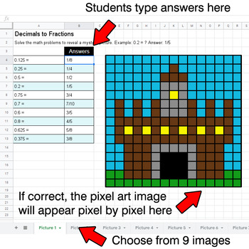 Decimals to Fractions - Google Sheets Pixel Art - Middle Ages